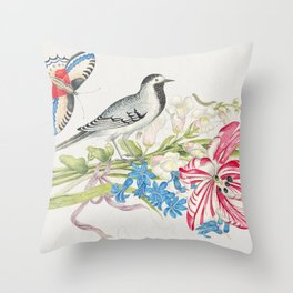 The 18th century  of a gray bird on a branch with tulip snapdragons and forget-me-nots with butterfl Throw Pillow