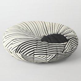 Radiant sun minimal landscape - black lines on neutral Floor Pillow