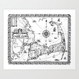 Vintage Map of Cape Cod BW Art Print