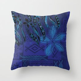 Samoan Blue Malu Mana Tribal Collage Throw Pillow