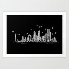 Seattle, Washington City Skyline Art Print