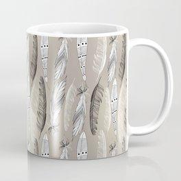 Beautiful graphic bird feathers black white Coffee Mug