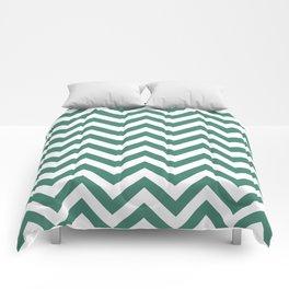 Viridian Green Chevrons Comforters