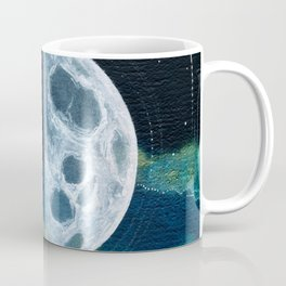 Quarter Moon Original Mixed Media Painting Coffee Mug