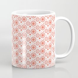 Pantone Living Coral Polka Dots and Circles Pattern on White Coffee Mug