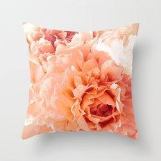 Peach Pink Peony Bunch Throw Pillow