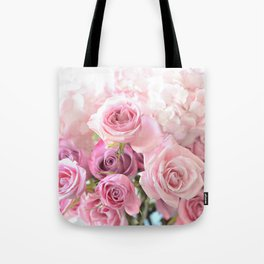 Pink Bouquet of Roses Shabby Chic Floral Wall Art Home Decor Tote Bag