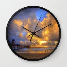 El Niño Sunset Huntington Beach Pier Wall Clock