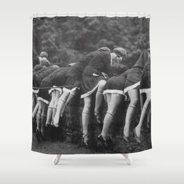 Jazz Age Flappers Head over Heals black and white photograph Shower Curtain