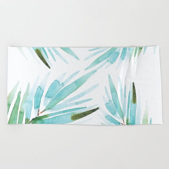 Palm tree leaves Beach Towel