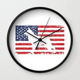 German Shepherd USA Flag Sheepdog Patriotic design Gift Wall Clock