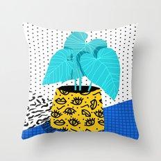 Totes magoats - memphis throwback retro house plant squiggle dot polka dot neon 1980s 80s style art Throw Pillow