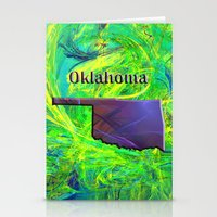 oklahoma Stationery Cards featuring Oklahoma Map by Roger Wedegis