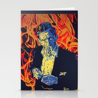 johnny cash Stationery Cards featuring Johnny Cash by Rich Anderson