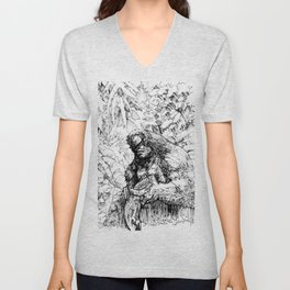 SASQUATCH EATING SALMON Unisex V-Neck