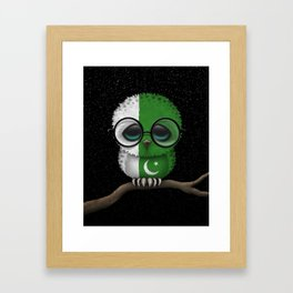 Baby Owl with Glasses and Pakistani Flag Framed Art Print