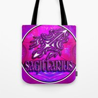 astrology Tote Bags featuring Sagittarius Zodiac Sign Astrology by CAP Artwork & Design