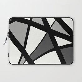 Geometric Line Abstract - Black Gray White Laptop Sleeve