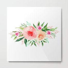 Bouquet OF flowers PINK AND ORANGE - PAINTED - watercolor Metal Print