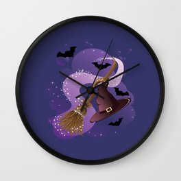 Witch hat and broom Wall Clock
