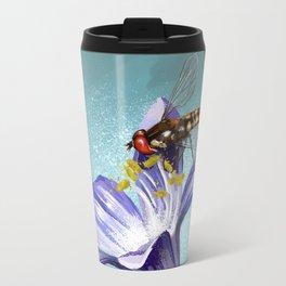 Wasp on flower 11 Metal Travel Mug