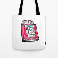 popeye Tote Bags featuring Popeye Smokes  by Snack Paintings