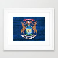 michigan Framed Art Prints featuring Michigan by C Liza B