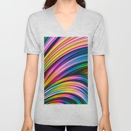 Melos IV. Colorful Abstract Stripes Unisex V-Neck