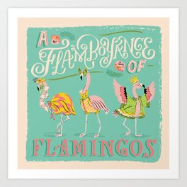A Flamboyance of Flamingos Art Print