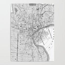 Vintage Map of Newark NJ (1872) BW Poster