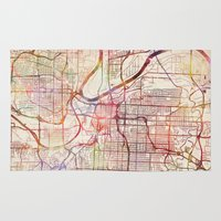 kansas city Area & Throw Rugs featuring Kansas City by MapMapMaps.Watercolors