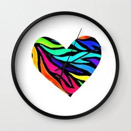 Rainbow Zebra Print Heart! Wall Clock