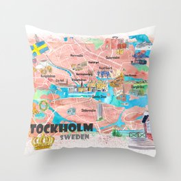Stockholm Sweden Illustrated Map with Main Roads Landmarks and Highlights Throw Pillow