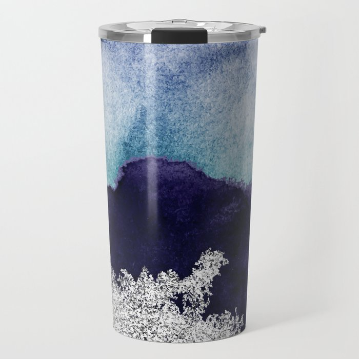 Silver foil on blue indigo paint Travel Mug