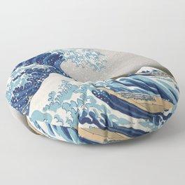 Under the Wave off Kanagawa - The Great Wave - Katsushika Hokusai Floor Pillow