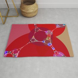 chantal - bright pink abstract design with red white and blue Rug