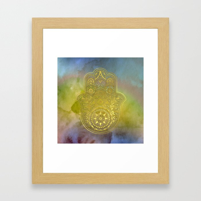 Colorful Watercolor And Gold Hamsa Hand Framed Art Print