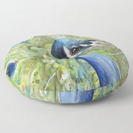 Peacock Watercolor Painting | Exotic Birds Floor Pillow