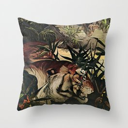 """""""Shere Khan"""" the Tiger from Kipling's Tales of India Throw Pillow"""