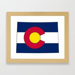 Colorado Map with Coloradan Flag Framed Art Print