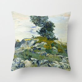The Rocks by Vincent van Gogh Throw Pillow