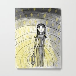 """""""Spooky Girl with a Lantern"""" - Decorative Drawing by Myles Katherine Metal Print"""