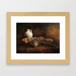 Stil life - Ceramic Wine Pot and Bread Framed Art Print