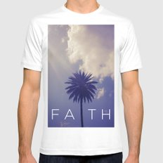 Palm Tree Faith White MEDIUM Mens Fitted Tee