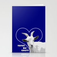 totes Stationery Cards featuring Totes Ma Goats - Blue by BACK to THE ROOTS