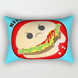 Bite Me Kawaii Cheeseburger Rectangular Pillow
