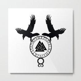 Norse Ravens - Valknut II Metal Print