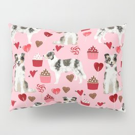 Border Collie valentines day cupcakes love hearts dog breed gifts collies herding dogs pet friendly Pillow Sham