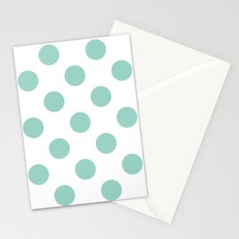 Gone Dotty Spotty - Geometric Orbital Circles In Pale Spring Fresh Green on White Stationery Cards