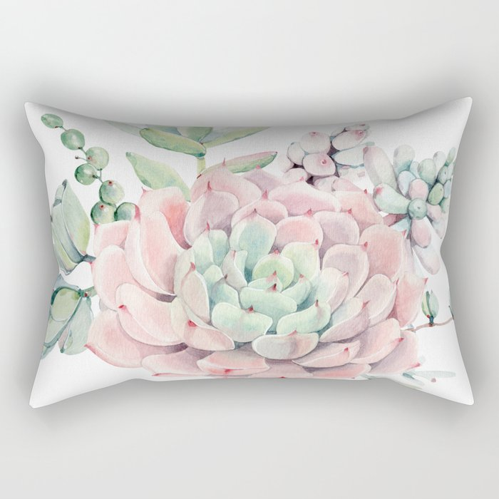 Pink Succulents by Nature Magick Rectangular Pillow